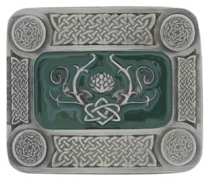Celtic Thistle Oblong Belt Buckle With Display Stand Code La3